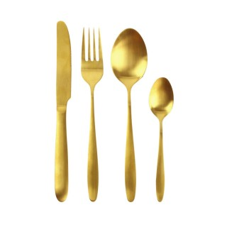 Ménagère en inox design Gold - 16 Pièces - Doré