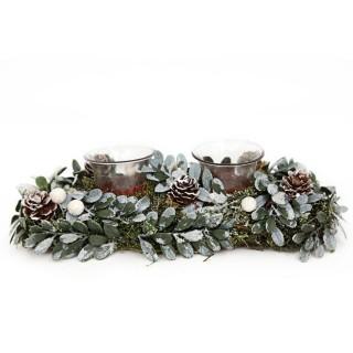 Photophore de Noël en bois Mistletoe - 2 Bougies - Vert