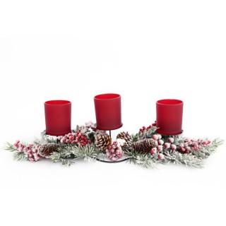 Bougeoir de Noël Forest Tradi - 3 Bougies - Rouge