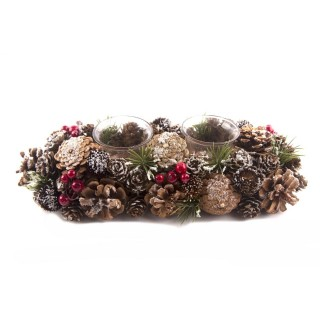 Photophore de Noël en bois Natural Tradi - 2 Bougies - Rouge