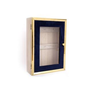 Boîte à clés design velours Art Déco Cygne - Bleu et doré