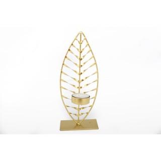 Bougeoir design en métal Feuille - L. 9 x H. 22 cm - Doré