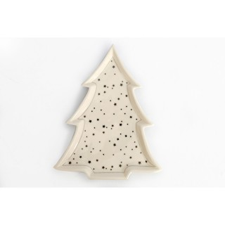 Assiette de Noël design sapin GM Trinket - Blanc