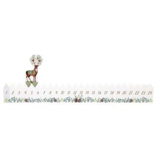 Calendrier de l'Avent bois renne Xmas Tradi - Blanc