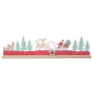 Calendrier de l'Avent en bois Père Noël Xmas Tradi - Rouge