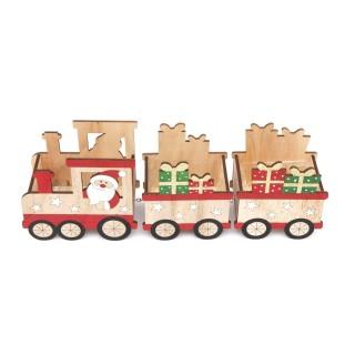 Décoration de Noël en bois Santa Train - Beige et rouge