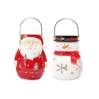 Lot de 2 Déco de Noël lanterne Xmas - Père Noêl et Bonhomme de Neige