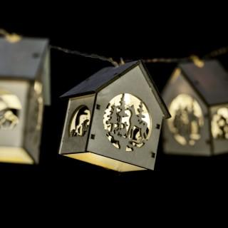 Guirlande de Noël intérieure lumineuse en bois Xmas - L. 135 cm - Beige