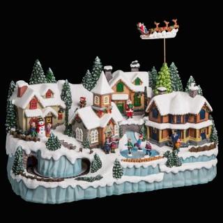 Village de Noël animé lumineux et musical Ville - Blanc