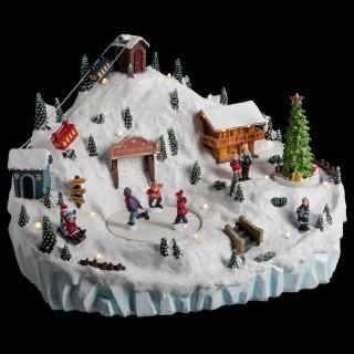Village de Noël animé et lumineux Station de ski - Blanc