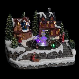 Village de Noël animé et lumineux Fontaine - Gris