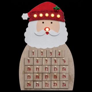 Calendrier de l'Avent lumineux bois Père Noël - Beige