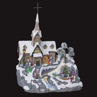 Village de Noël animé et lumineux Eglise - Gris