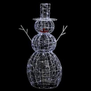 Déco extérieure lumineuse de Noël Bonhomme de Neige - L. 67 x H. 120 cm - Couleur blanc froid