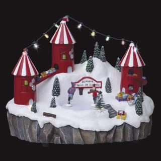 Village de Noël animé lumineux et musical Patinoire illuminée - Blanc