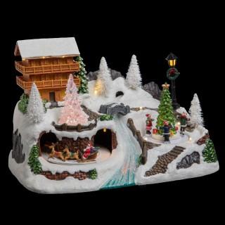 Village de Noël animé et lumineux Chalet - Blanc