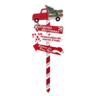 Décoration de Noël pancarte en bois Jeanne - H. 105 cm - Rouge