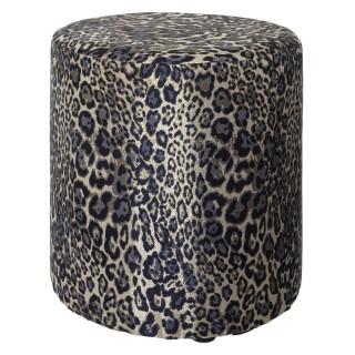 Pouf design léopard Jungle électro - Diam. 40 x H. 45 cm - Noir et doré