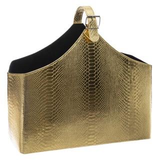 Porte revue design cuir croco Curiosité - Doré