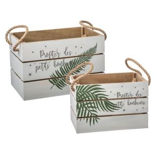 Décoration de Noël 2 cagettes bois Terre sauvage - Blanc