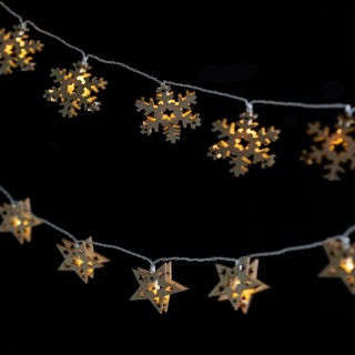 2 Guirlandes de Noël en bois Xmas - L. 135 cm - Flocon et étoile