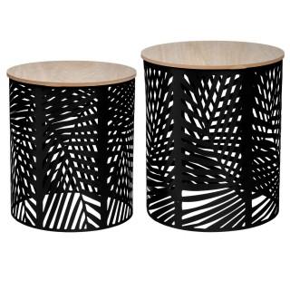 2 Tables d'appoint design métal bois Contempo - Noir