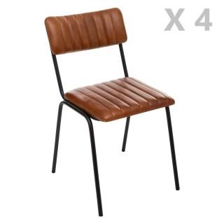 4 Chaises design vintage en cuir Dario - Marron cognac