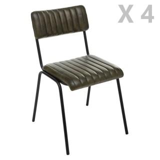 4 Chaises design vintage en cuir Dario - Vert