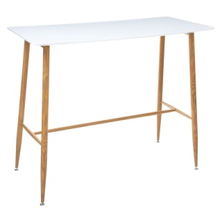 Table haute design scandinave Roka - L. 120 x H. 105 cm - Blanc