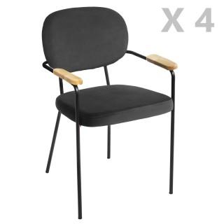 4 Chaises de salle à manger design velours Talia - Gris