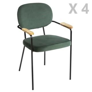 4 Chaises de salle à manger design velours Talia - Vert
