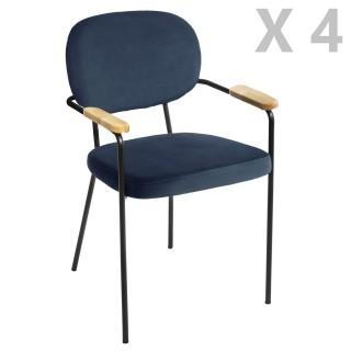 4 Chaises de salle à manger design velours Talia - Bleu