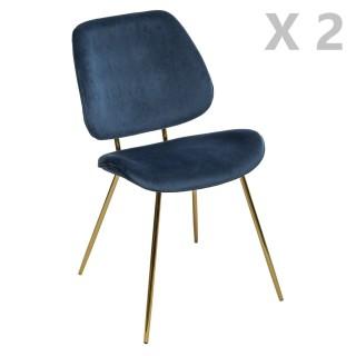 2 Chaises design velours et métal Slow - Bleu