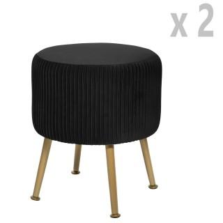 2 Tabourets design velours Contempo Solaro - Diam. 35 x H. 41 cm - Noir