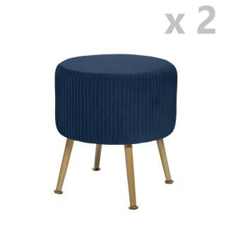 2 Tabourets design velours Contempo Solaro - Diam. 35 x H. 41 cm - Bleu foncé