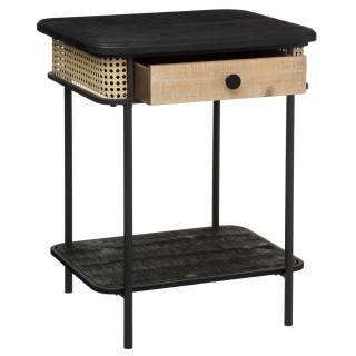 Table de chevet design bois et métal Arbela - L. 48 x H. 60 cm - Noir