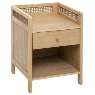 Table de chevet design rotin Arty - L. 40 x H. 55 cm - Couleur bois