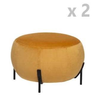 2 Tabourets design velours Calabaza - Diam. 44 x H. 35 cm - Jaune ocre