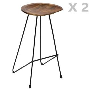 2 Tabourets de bar design bois et métal Sumar - Noir