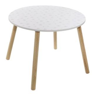 Table enfant design bois Douceur - Diam. 60 cm - Blanc à motif