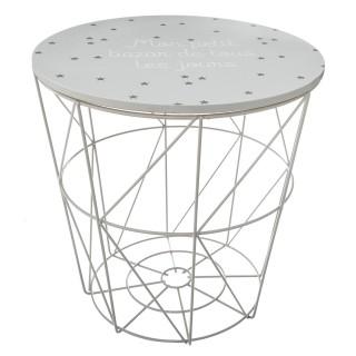 Table de rangement design enfant Kumi - Diam. 30 x H. 30 cm - Gris