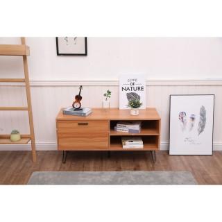 Table basse design bois et métal Oleana - L. 110 x H. 53 cm - Marron et bois