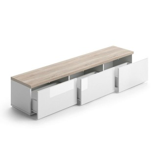 Meuble TV design scandinave avec tiroirs Meli - L. 165 x H. 30 cm - Couleur bois et blanc