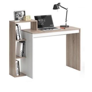Bureau design scandinave Isidor - L. 110 x H. 91 cm - Couleur bois et blanc