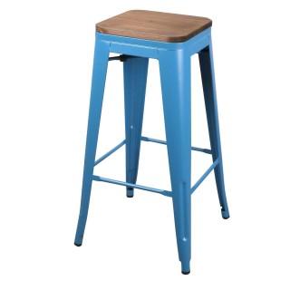 Lot de 4 Tabourets de bar vintage Liv - H. 77 cm - Bleu