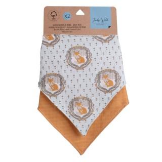 Lot de 2 bavoirs bandana pour enfant - modèle Renard