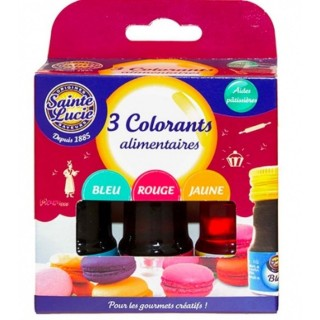 3 colorants alimentaires - Sainte Lucie - boite 3*10ml