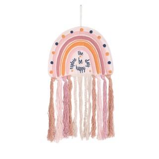 Attrape rêve arc en ciel avec franges à suspendre - H. 70 cm - Multicolore