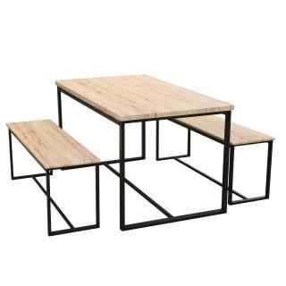 Table à manger et ses 2 bancs Dock - H. 75 cm - Beige et Noir