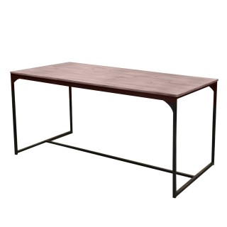 Table à manger Palm Spring - H. 75 cm - Noir et effet Bois massif
